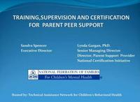 Training, Supervision & Certification of Peer Support Providers